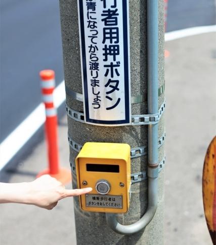 ボタンを押して進む信号機は青にしてから進む